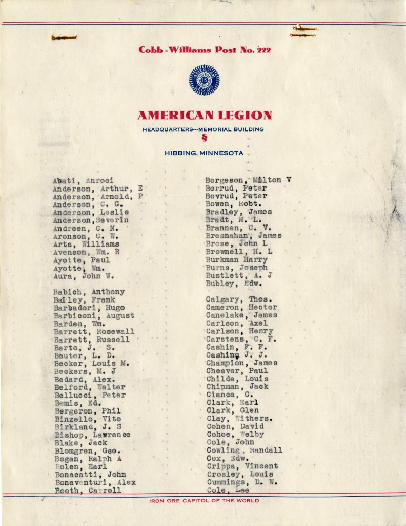 Membership of American Legion 1935 (page 1)