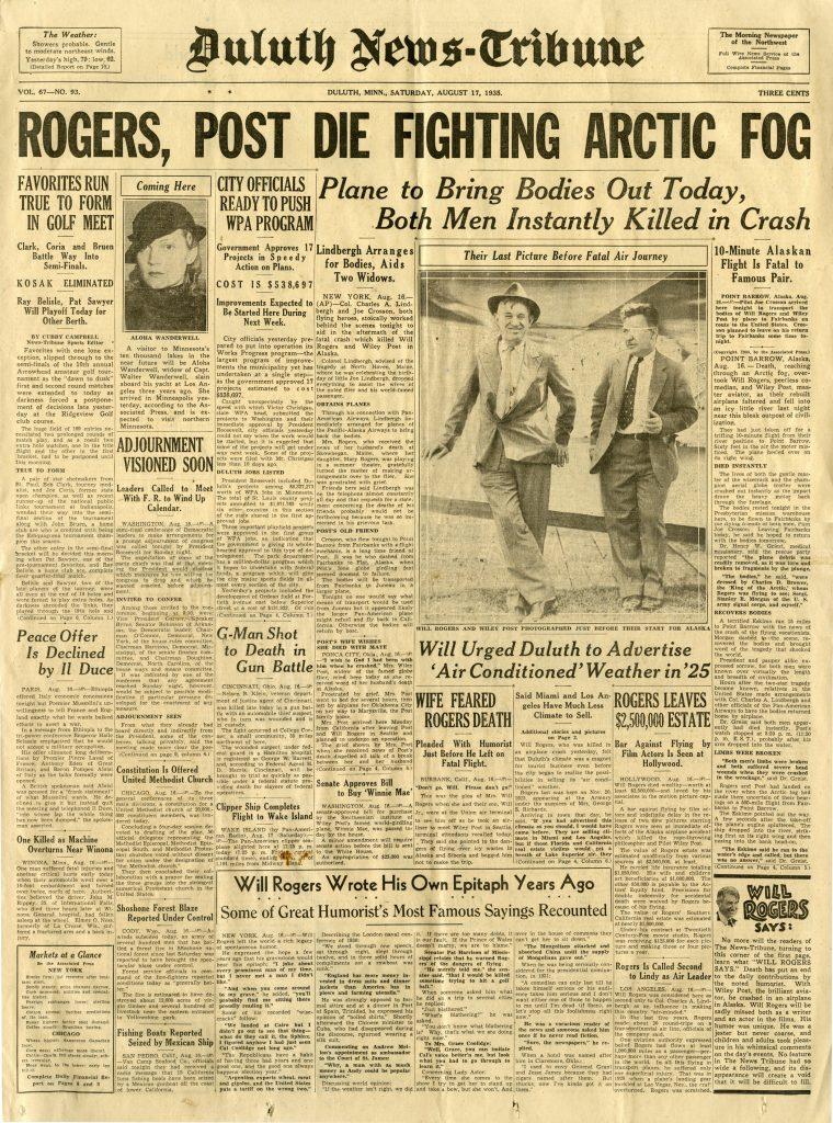 "Duluth News Tribune ""Rogers, Post Die Fighting Arctic Fog"""