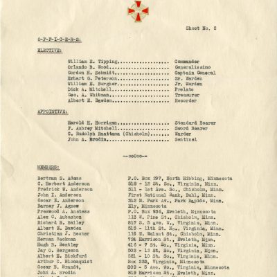 List of Members of Eveleth Commandary No. 35, Knights Templar (Page 2)