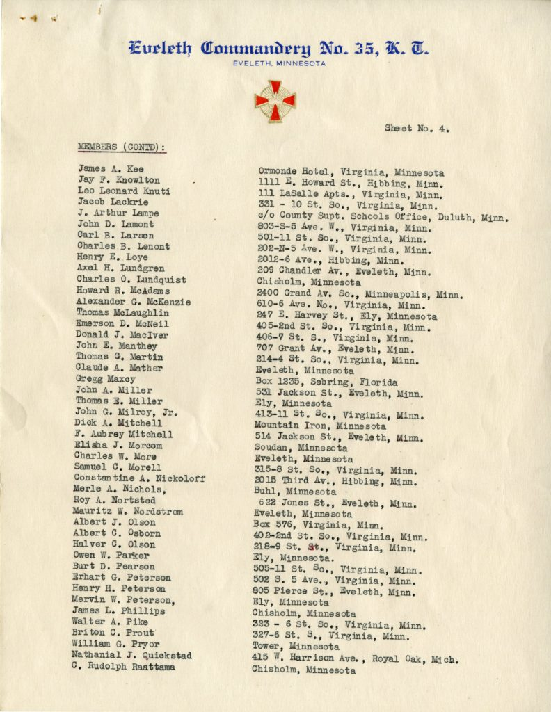 List of Members of Eveleth Commandary No. 35, Knights Templar (Page 4)