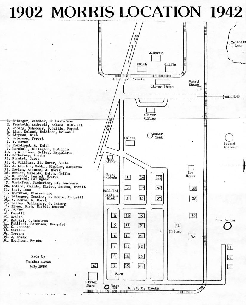Morris Location Map, featuring known residents – 1901-1942