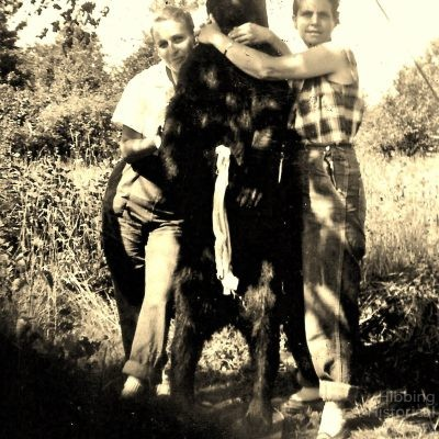 Mae Conklin and Carrie Robinson with bear, 1952-53