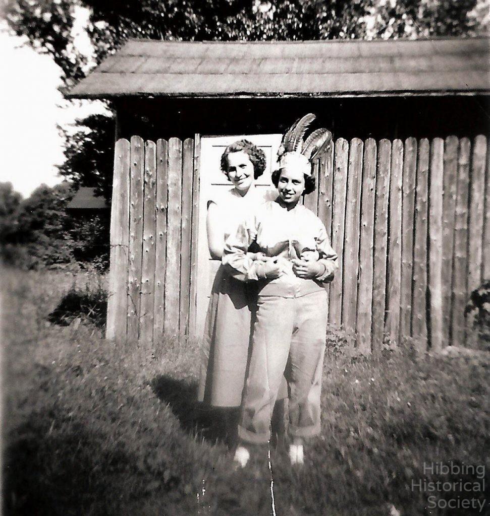 Mae Conklin with Winifred Robinson in Lavinia Location, 1952