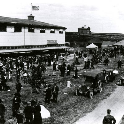 Saint Louis County Fairgrounds with Poole School in background, 1914